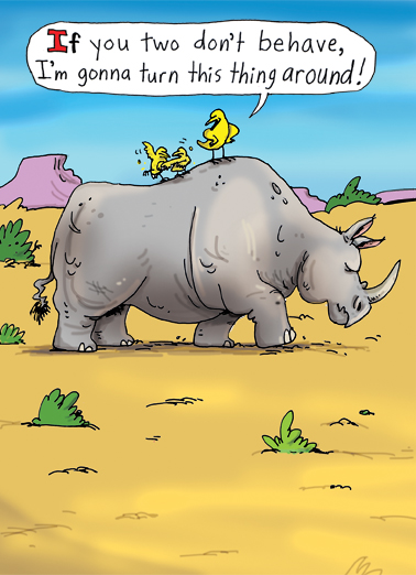 Turn Rhino Around Father's Day Ecard Cover