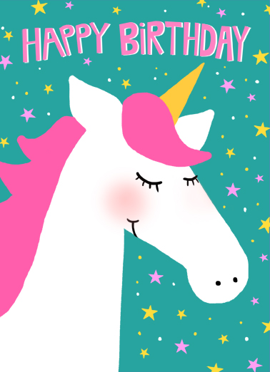 Unicorn Birthday One from the Heart Card Cover
