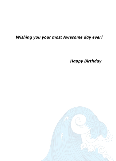 Unicorn Shark Surf Birthday Card Inside