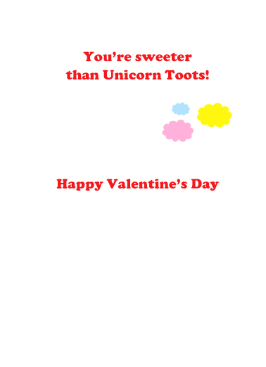 Val Unicorn Toots Valentine's Day Card Inside