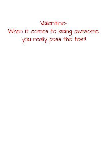 Valentine Testing Valentine's Day Card Inside