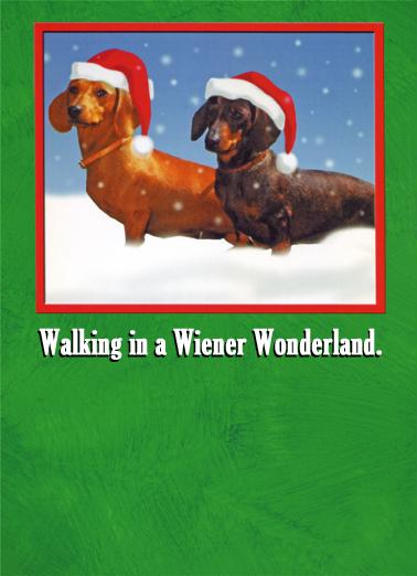 Walking Wiener Christmas Card Cover