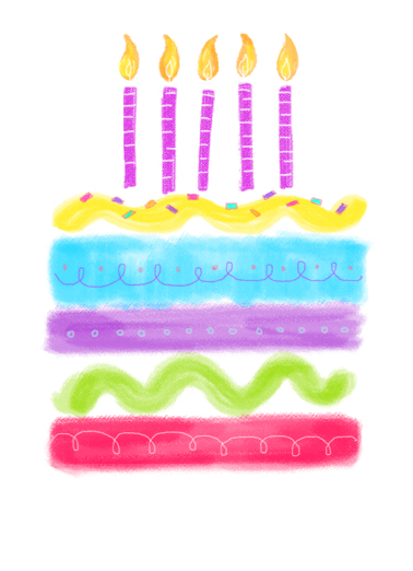 Watercolor Birthday Cake One from the Heart Card Cover