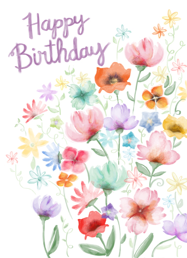 Watercolor Garden Bday One from the Heart Card Cover