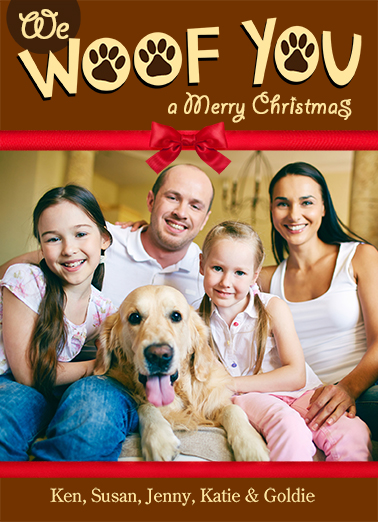 We Woof You Vert Christmas Card Cover