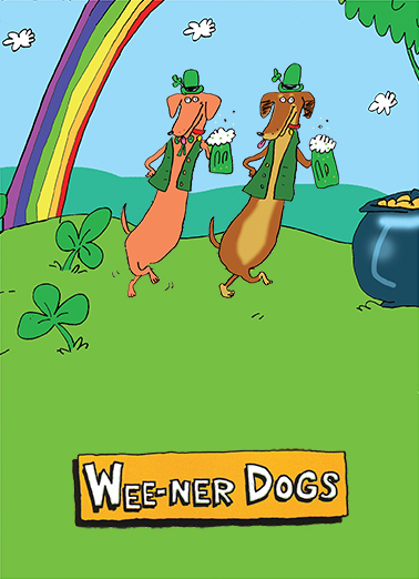 Weener Dogs St. Patrick's Day Card Cover