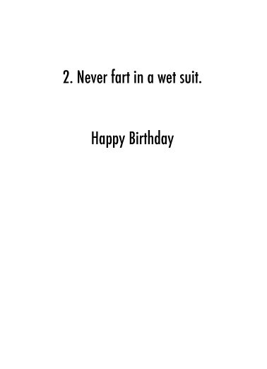 Wetsuit BDAY Birthday Card Inside