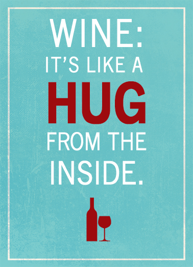 Wine Hug Lettering Ecard Cover