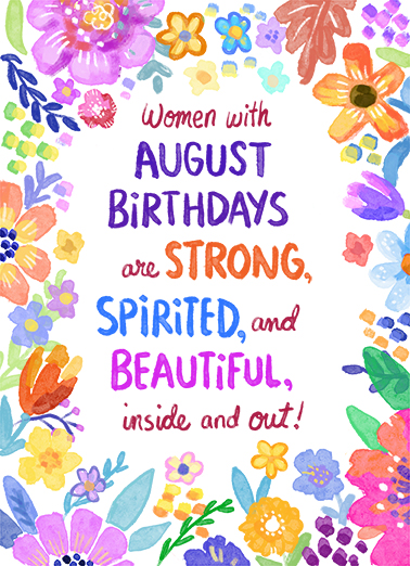 Women with August Birthdays Birthday Card Cover