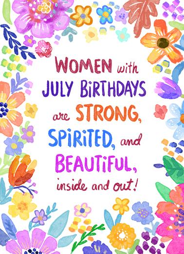 Women with July Birthdays July Birthday Ecard Cover