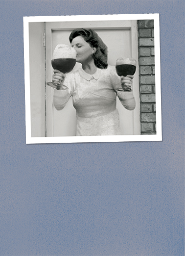 Wynona Drinking Vintage Ecard Cover