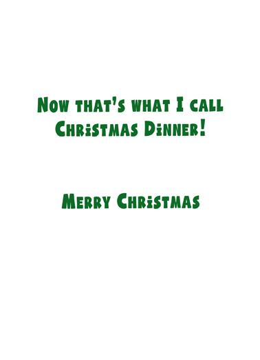 Xmas Dinner Cat Christmas Card Inside