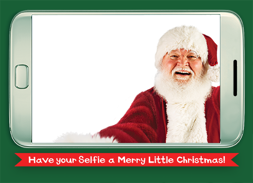 santa selfie horiz kids Christmas Card Cover