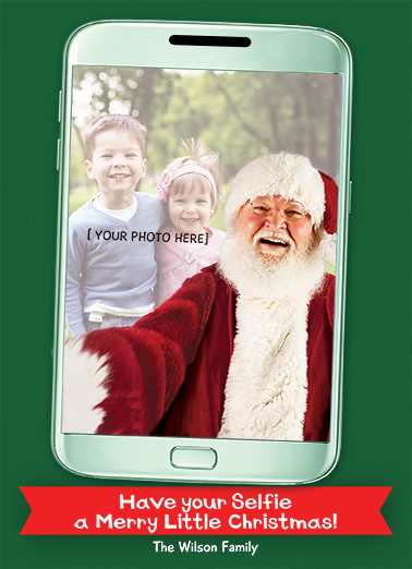 Fun Add Your Photo Christmas Cards and Flats Add Your Own Selfie with Santa! | Santa, selfie, funny, photo, phone, pic, lol, christmas, claus